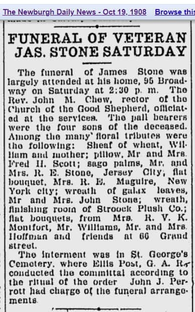 James Stone Funeral Notice October 19 1908